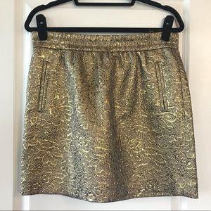 Ann Taylor LOFT Gold Mini Skirt